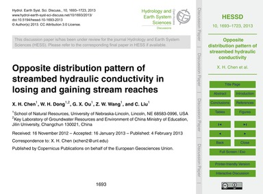 Opposite Distribution Pattern of Streamb... by Chen, X. H.