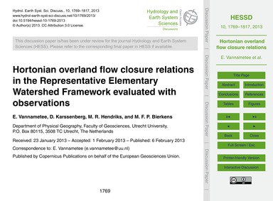 Hortonian Overland Flow Closure Relation... by Vannametee, E.