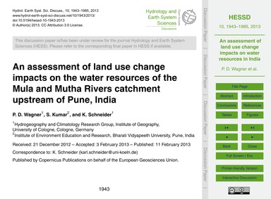 An Assessment of Land Use Change Impacts... by Wagner, P. D.