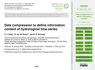 Data Compression to Define Information C... by Weijs, S. V.