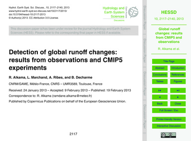 Detection of Global Runoff Changes: Resu... by Alkama, R.