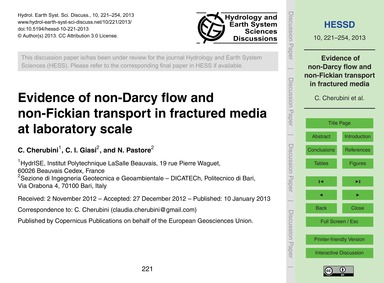 Evidence of Non-darcy Flow and Non-ficki... by Cherubini, C.