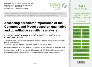 Assessing Parameter Importance of the Co... by Li, J. D.