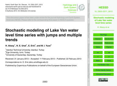 Stochastic Modeling of Lake Van Water Le... by Aksoy, H.