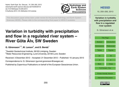 Variation in Turbidity with Precipitatio... by Göransson, G.