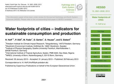 Water Footprints of Cities – Indicators ... by Hoff, H.
