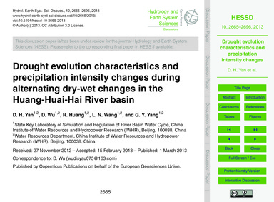Drought Evolution Characteristics and Pr... by Yan, D. H.