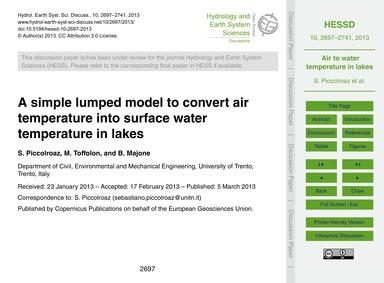 A Simple Lumped Model to Convert Air Tem... by Piccolroaz, S.