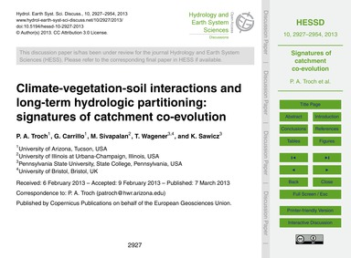 Climate-vegetation-soil Interactions and... by Troch, P. A.