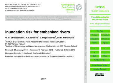Inundation Risk for Embanked Rivers : Vo... by Strupczewski, W. G.