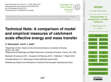 Technical Note: a Comparison of Model an... by Rasmussen, C.