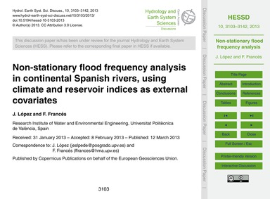 Non-stationary Flood Frequency Analysis ... by López, J.