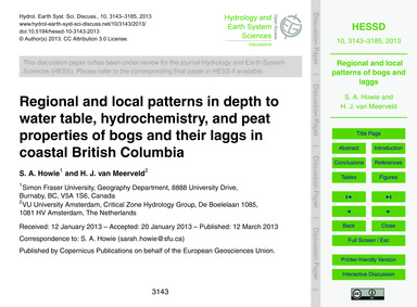 Regional and Local Patterns in Depth to ... by Howie, S. A.