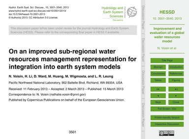 On an Improved Sub-regional Water Resour... by Voisin, N.