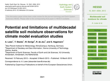 Potential and Limitations of Multidecada... by Loew, A.