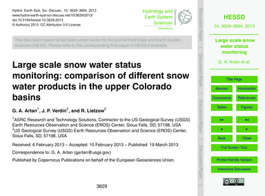 Large Scale Snow Water Status Monitoring... by Artan, G. A.