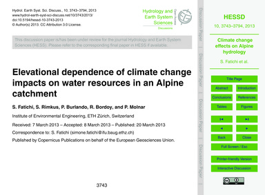 Elevational Dependence of Climate Change... by Fatichi, S.