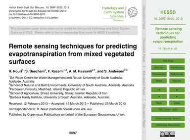 Remote Sensing Techniques for Predicting... by Nouri, H.