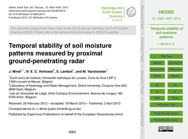 Temporal Stability of Soil Moisture Patt... by Minet, J.