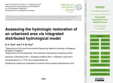 Assessing the Hydrologic Restoration of ... by Trinh, D. H.