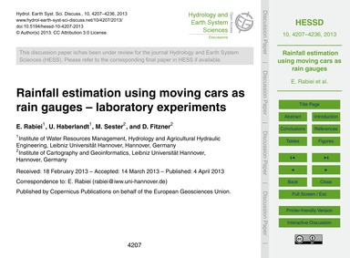 Rainfall Estimation Using Moving Cars as... by Rabiei, E.
