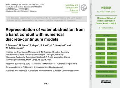 Representation of Water Abstraction from... by Reimann, T.