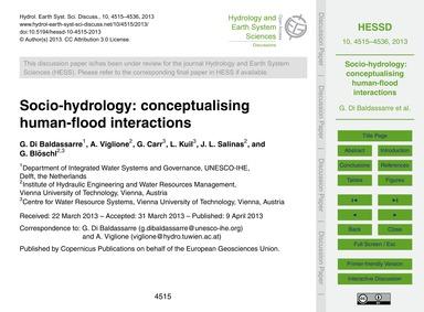 Socio-hydrology: Conceptualising Human-f... by Di Baldassarre, G.