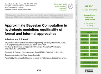 Approximate Bayesian Computation in Hydr... by Sadegh, M.
