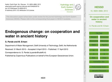 Endogenous Change: on Cooperation and Wa... by Pande, S.