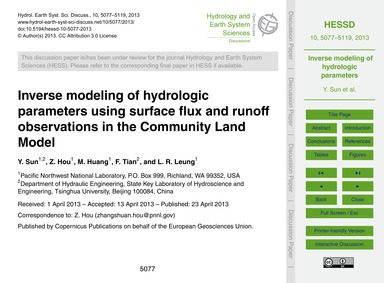 Inverse Modeling of Hydrologic Parameter... by Sun, Y.