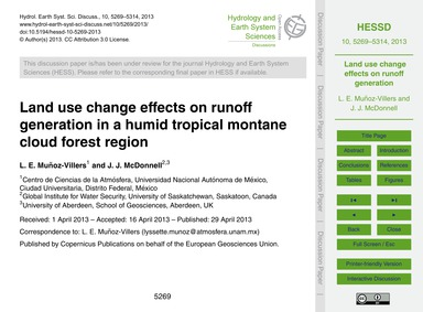 Land Use Change Effects on Runoff Genera... by Muñoz-villers, L. E.