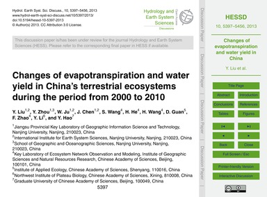Changes of Evapotranspiration and Water ... by Liu, Y.