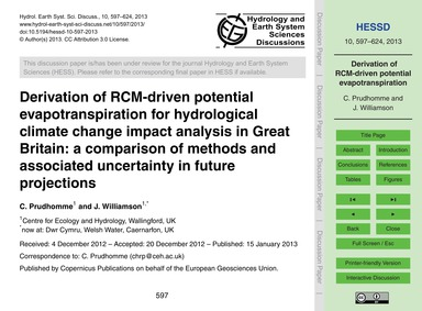 Derivation of Rcm-driven Potential Evapo... by Prudhomme, C.