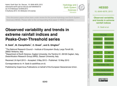 Observed Variability and Trends in Extre... by Saidi, H.