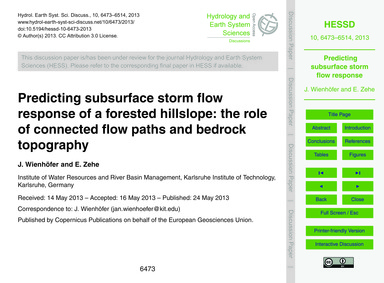 Predicting Subsurface Storm Flow Respons... by Wienhöfer, J.