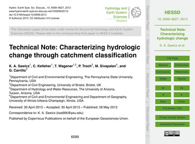 Technical Note: Characterizing Hydrologi... by Sawicz, K. A.