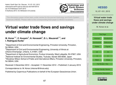 Virtual Water Trade Flows and Savings Un... by Konar, M.