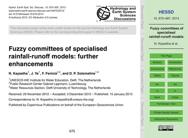 Fuzzy Committees of Specialised Rainfall... by Kayastha, N.