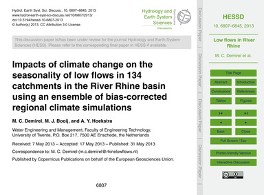 Impacts of Climate Change on the Seasona... by Demirel, M. C.