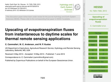 Upscaling of Evapotranspiration Fluxes f... by Cammalleri, C.