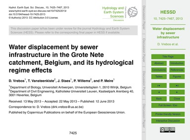 Water Displacement by Sewer Infrastructu... by Vrebos, D.