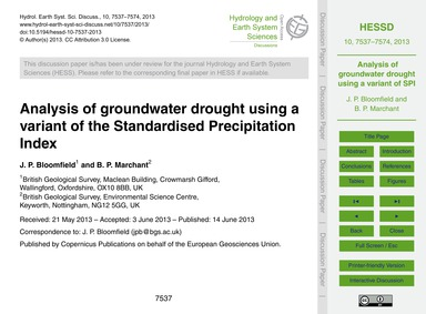 Analysis of Groundwater Drought Using a ... by Bloomfield, J. P.