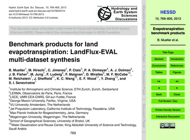 Benchmark Products for Land Evapotranspi... by Mueller, B.