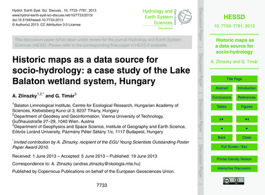 Historic Maps as a Data Source for Socio... by Zlinszky, A.