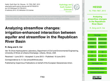 Analyzing Streamflow Changes: Irrigation... by Zeng, R.