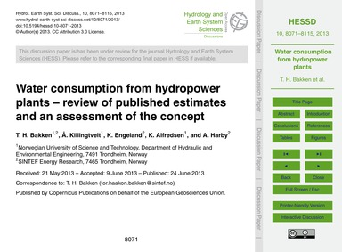Water Consumption from Hydropower Plants... by Bakken, T. H.