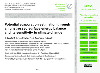Potential Evaporation Estimation Through... by Barella-ortiz, A.
