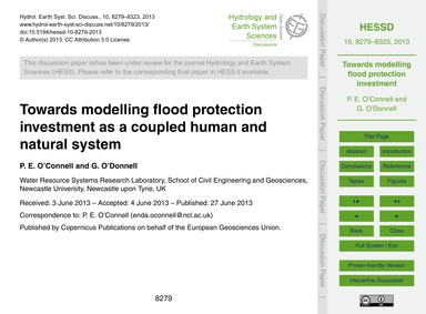 Towards Modelling Flood Protection Inves... by O'Connell, P. E.
