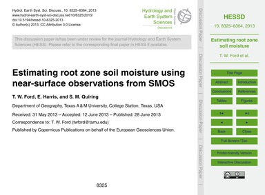 Estimating Root Zone Soil Moisture Using... by Ford, T. W.