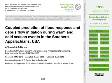Coupled Prediction of Flood Response and... by Tao, J.